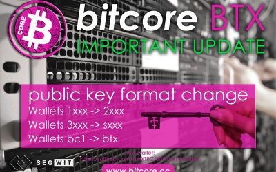 Important update: Bitcore Public Keys