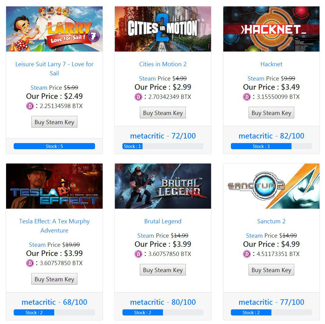 Games4coins com    a new service to buy Steam keys with BTX