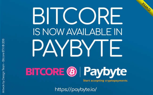 Another step to mass adoption, merchants can now accept BITCORE BTX using PayByte