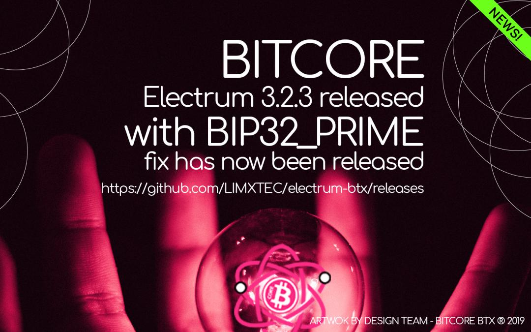 Electrum-BTX 3.2.3 with BIP32_PRIME fix has now been released