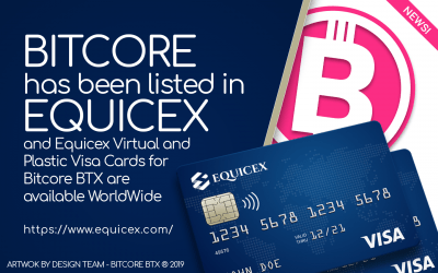 Another step to mass adoption; use your Equicex Visa card anywhere and spend your BTXs