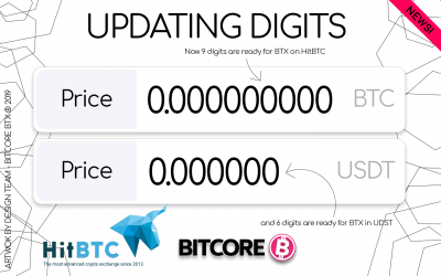 9th decimal to BITCORE trading at HitBTC