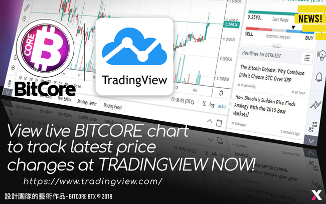 TradingView, a trading platform with over 3 million monthly active users, has listed BitCore BTX