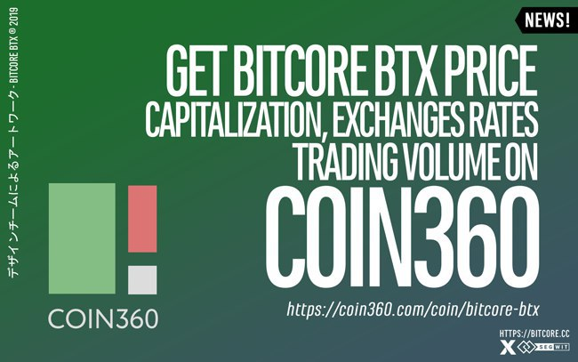 BitCore BTX has been listed on Coin360.com