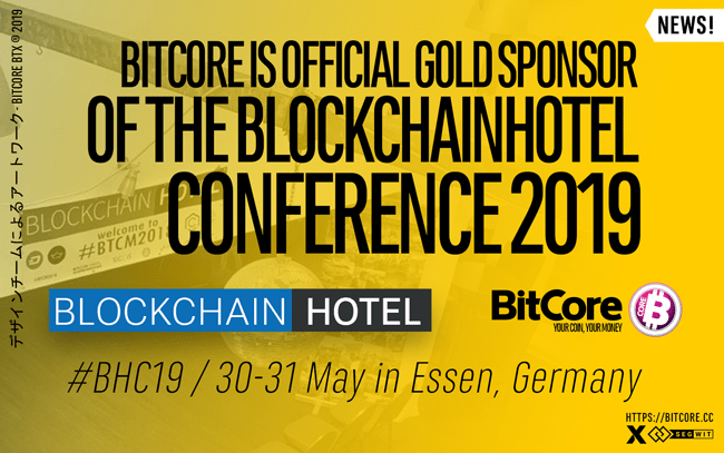 BitCore BTX is official Gold Sponsor of the Blockchainhotel Conference 2019