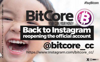 BitCore back to Instagram @bitcore_cc