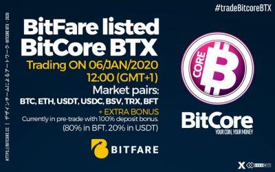 Bitfare listed BITCORE (BTX)